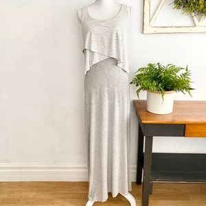 Chelsea & Theodore Striped Jersey Maxi Dress SZ S